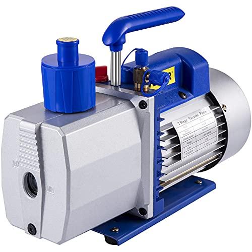 VEVOR Vacuum Pump 9 CFM 1 HP Single Stage Air Conditioning Vacuum Pump 110V 5PA Ultimate Vacuum Refrigerant HVAC Air Tool Rotary Vane Vacuum Pump for Automobile Reparation Vacuum Evacuation