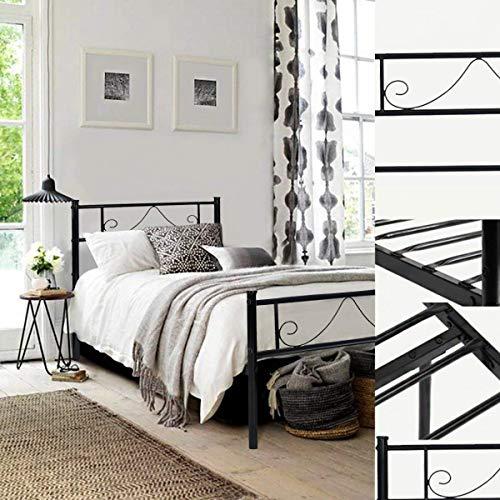 Aingoo Lit en métal Design Double 2 Places Cadre de lit avec lamelles Solides et Structure...