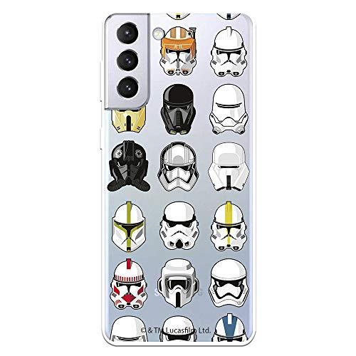 Funda para Samsung Galaxy S21 Plus Oficial de Star Wars Patrón Cascos. Protege tu móvil con la Carcasa para Samsung de Silicona Oficial de Star Wars.