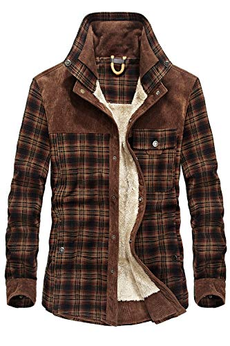 Mr.Stream Men's Outdoor Casual Vintage Long Sleeve Plaid Flannel Button Down Shirt Jacket Red Coffee US L=Tag Asia 3XL
