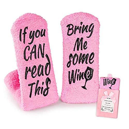 Planuuik Vrouwen noviteit roze sokken grappige woorden wijn koffie chocolade warme panty's