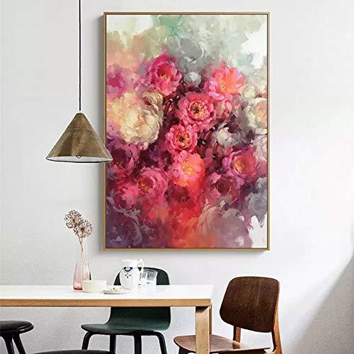 SADHAF Wandkunst Rose rot abstrakte Leinwand Malerei Wohnzimmer Dekoration Poster Bilddruck A5 60x90cm