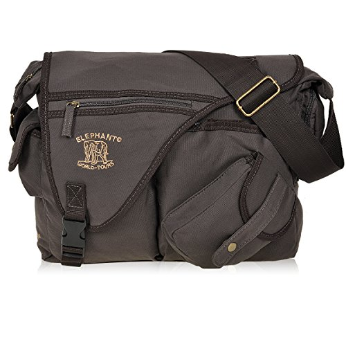 Elephant the JACK BAG Messenger Canvas Umhängetasche Unisex (Darkbrown (Braun))