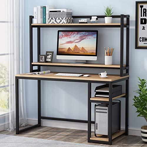 Computertisch mit Ablagefächern,Studierschreibtisch mit Stall und Bücherregal, Monitorerhöhung (Marple)