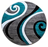 Masada Rugs Sophia Collection Hand Carved Round Area Rug Modern Contemporary Turquoise Grey White Black (8 Feet X 8 Feet) Round