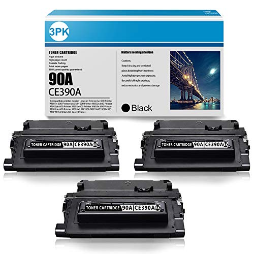 90A   CE390A 3 Pack Black Compatible Toner Cartridge Replacement for HP Laserjet Enterprise 600 M601dn M602x M603n M603xh MFP M4555 MFP Printer Ink Cartridge (10,300 Pages Per Toner High Yield)