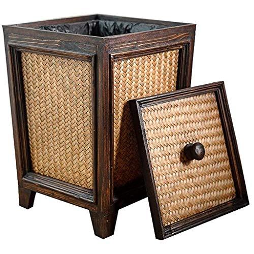 Zhipeng La Basura Cesta Decorativa, Bote de Basura con Tapa de Madera de ratán, Bote de Basura del Cubo del pañal (marrón) hsvbkwm
