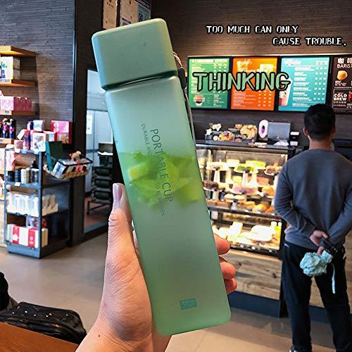 ZLC 550ML Bottiglia di acqua di plastica glassata quadrata Bottiglia Trasparente portatile Succo di frutta A tenuta stagna Bottiglia da campeggio per viaggi sportivi all'aperto, B, 550ml