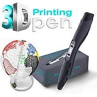 Orbetio - Bolígrafo de impresión 3D para niños y adultos, pantalla LCD, 2 filamentos PLA | garabateo, dibujo, artes, manualidades, aficiones, control de temperatura, velocidad ajustable negro