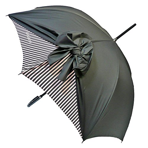 (シャンタルトーマス)Chantal Thomass リボン 雨傘 長傘 ストライプ柄 CT200-Rayures-NOIR/PINK