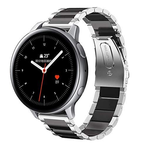 SUNDAREE Compatible con Correa Galaxy Watch Active2 42MM/44MM,20MM Metal Acero Inoxidable Reemplazo Correas Banda Pulseras de Reloj Inteligente para Samsung Galaxy Watch Active 2(Active2 Silver+Black)