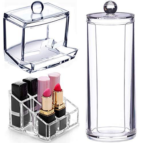Fiyuer wattepadspender wattestäbchen Spender 3 Pcs wattepads aufbewahrung Glas mit Deckel Lippenstift Organizer aufbewahrungsbox Transparent