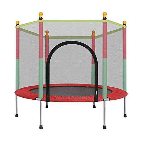 5ft Kids Trampoline, Jumping Trampoline with Safety Enclosure Net & Mini Trampoline for Indoor/Outdoor, Built-in Zipper Heavy Duty Trampoline Great Gifts for Kids Family (UK 3-5 Day,Multicolour)