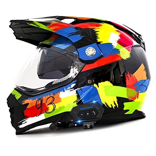 Casco Motocross Adulto Homologado DOT Con Bluetooth Visera Casco De Moto Cross Integral Para Mujer Hombre Casco Todoterreno Downhill Casco Deportivo Off Road Casco Enduro, Pintada Clear Lens,XXL