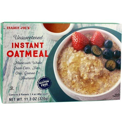 Trader Joe's Unsweetened Instant Oatmeal GLUTEN FREE 11.3 oz 8 Packets Per Box ( Case of 2)