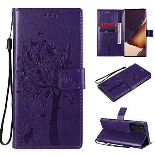 Miagon für Samsung Galaxy Note 20 Geldbörse Wallet Case,PU Leder Baum Katze Schmetterling Flip Cover Klapphülle Tasche Schutzhülle mit Magnet Handschlaufe Strap