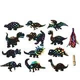 EKKONG Dinosaurier Kratzbilder Bunt, 48 Stück Kratzbild Papier Anhänger mit 24 Holzstiften und 48 Bändern, DIY Kratzbild Mitgebsel für Kinder Jungs Geburtstag Dinosaurier Party Zubehör (Dinosaurier) -
