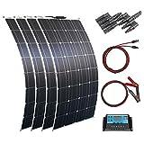 ソーラーパネル 100W 12V 単結晶 フレキシブル 太陽光発電キット400W 40A