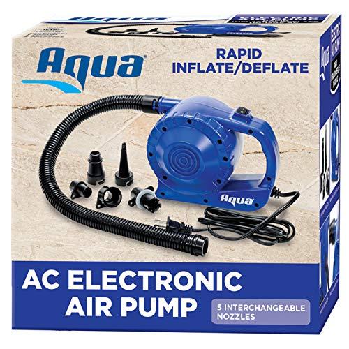 Aqua Heavy Duty 110V AC Air Pump for Inflatables, Air Mattresses, Sports Balls, Quick-Inflate 110V Electric Pump, 3 Nozzle Attachments, Black