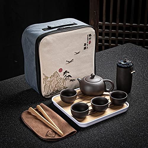 DUNGS Juego de té de Viaje de Arcilla púrpura, Tetera, vajilla, Taza de té, infusor de sopera,Ceremonia de té, Juegos de té para Exteriores/para el hogar