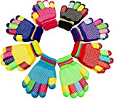 Kids Gloves, Magic Stretch Gloves 8 Pairs, Children Anti-Slip Full Fingers Knitted Winter Glove for Boys and Girls