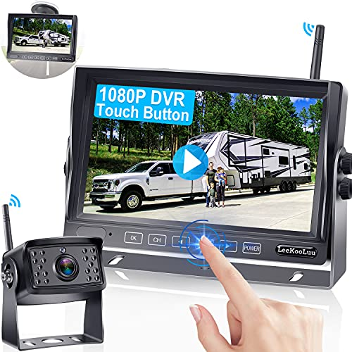 RV Backup Camera Wireless with Monitor for RVs,Trailers,Trucks,5th Wheels,HD 1080P with 7 Inch Screen Rear View High-Speed Observation DVR System,High Refresh Rate No Signal Delay LeeKooLuu-LK5