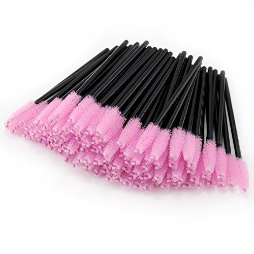 PsmGoods 100PCS Einweg schwarzen Wimpern Mascara Zauberstab-Bürsten-Kosmetik-Bürsten-Augen-Wands (Hell-Pink)