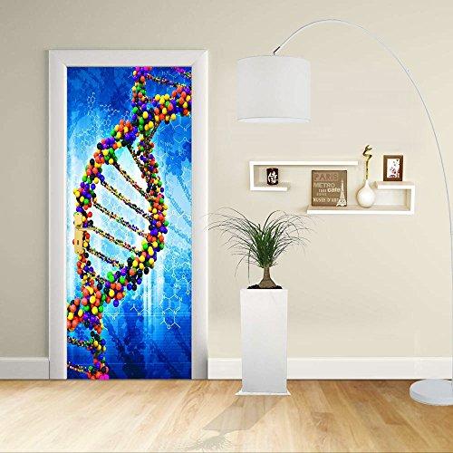 GRAFIC Autocollant de Porte - Design- DNA - Décoration adhésive pour Portes Meubles Maison-Print pour Porte Dimensions Personnalisables-Impression sur PVC (CM 60X210)