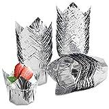 Cupcake Muffin Liners, Eusoar 3.5 Ounce Aluminum Foil Baking Cups 50pcs, Disposable Tulip Style Cupcake Cups, Baking Cups, Foil Cups, Aluminum Cupcake Pan Ramekin Holders