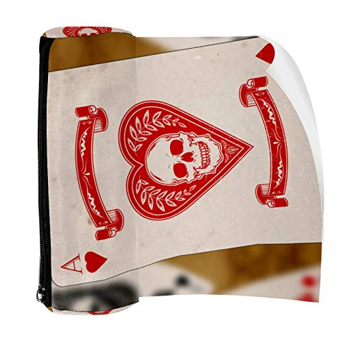 Heart Ace Playing Cards Pencil Case Pouch Bag Cute Pen Zipper Bag for Stationery Travel School Student Supplies