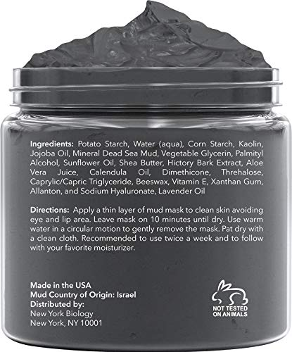 New York Biology Dead Sea Mud Mask for Face and Body - Spa Quality Pore Reducer for Acne, Blackheads and Oily Skin, Natural Skincare for Women, Men - Tightens Skin for A Healthier Complexion - 8.8 oz