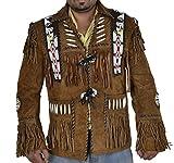 Classyak Hombres de Western Cowboy Chaqueta de Piel de Ante con Flecos y Cuentas de Cristal de Eagle Marrón Ante Marrón XX-Large