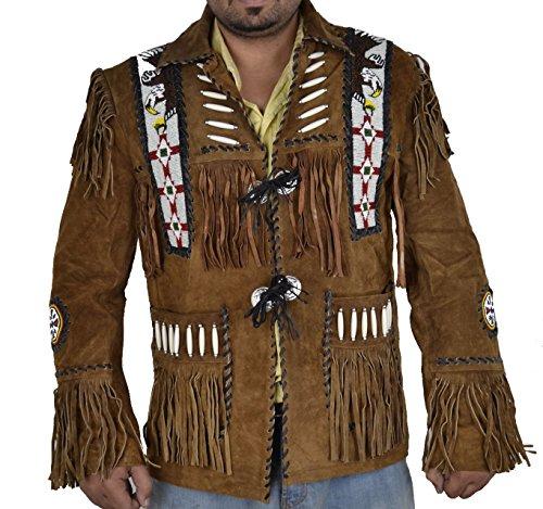Classyak Hombres de Western Cowboy Chaqueta de Piel de Ante con Flecos y Cuentas de Cristal de Eagle Marrón Ante Marrón Medium