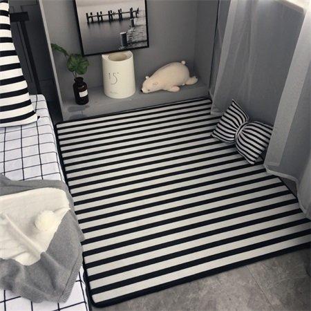 GRENSS Klassische Mode Schwarz Weiß Gestreifte Wohnzimmer Schlafzimmer Salon dekorativen Teppich Teppich Baby Krabbeln Spielteppich Home Dekoration, schwarzer Streifen, 130 x 155 cm 51 x 61 Zoll