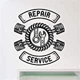 Autocollant Stickers Muraux Service Après-Vente Et Réparations De Voitures Auto Atelier De Réparation Automobile Décoration Service D'Entretien De Pneus De Voiture Logo