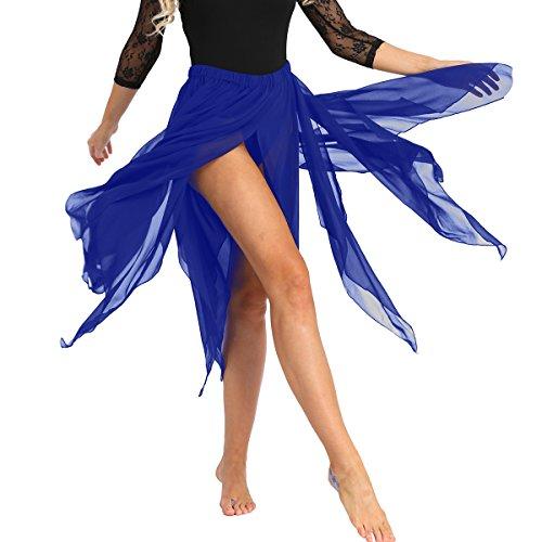 iiniim Falda de Danza Flamenco Falda Larga Irregular de Gasa para Mujeres Chicas Falda Apertura Danza del Vientre Hendidura Sexy Disfraz de Fiesta Baile Belly Dance Skirt Azul One Size