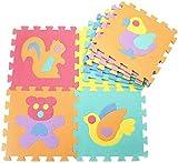 Gutsbox Alfombra Puzzle para Niños 30x30cm 10 Piezas Alfabeto Goma Espuma Alfombrilla de Juego para Bebe Infantil