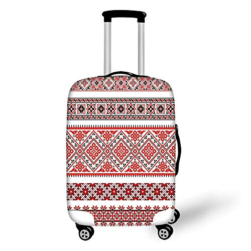 Travel Luggage Cover Suitcase Protector,Art,Traditional Ukrainian Borders Frames Ornaments Old Fashioned Cultural Motifs,Vermilion Black White,for TravelXL 29.9x39.7Inch