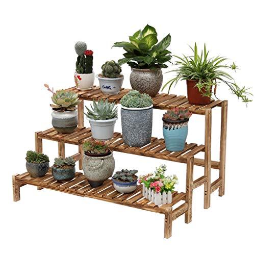 ZHEYANG Soporte para plantas con 3 niveles de madera para flores para exteriores e interiores, 3 tamaños de regalo para esposa (tamaño: 55 cm)