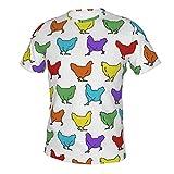 MayBlosom Camiseta de manga corta con cuello redondo para hombre, estilo casual, ajuste ajustado, para trabajo, para gallinas, pollo, arco iris