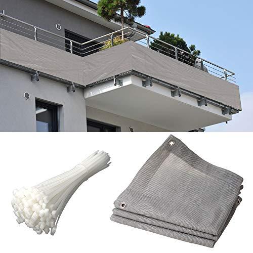 WUZMING Balcón Pantalla De Privacidad, Al Aire Libre Malla Sombra De Red, Anti-UV 100% HDPE Anti-envejecimiento con Agujeros De Metal, 52 Tamaños (Color : Gray, Size : 100x700cm)