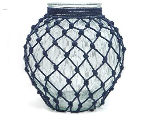 Werner Voss Windlicht Kugel Mesh Glas transparent klar - Kerzenhalter mit Kordel blau - modern Design - Deko skandinavisch