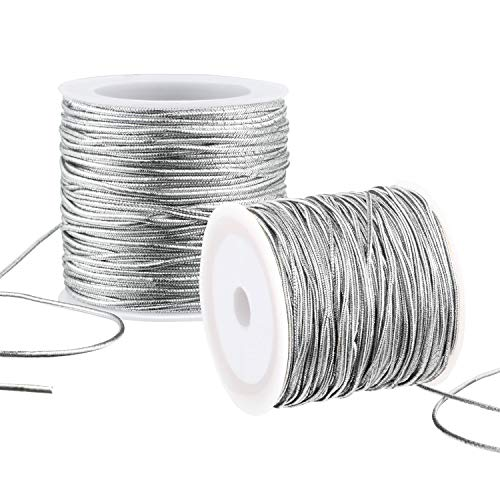 2 Rolls Metallic Elastic Cords Stretch Cord Ribbon Metallic Tinsel Cord Rope for Craft Making Gift Wrapping, 1 mm 55 Yards (Silver)