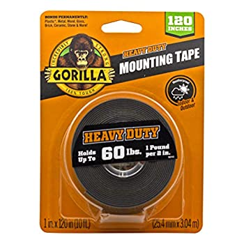 Gorilla Heavy Duty Double Sided Mounting Tape XL 1  x 120  Black  Pack of 1