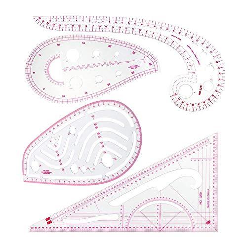 Adanse N?hlineal Set de regla métrica (4 unidades) – Juego de regla con diseño de curvas francesas, regla graduación, dibujo, herramientas 4 estilos para diseñadores