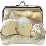 Cambia fibbia portamonete Cuore di sabbia Portafoglio da spiaggia in legno di cozze Borsa da donna