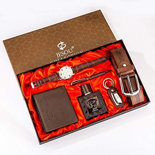 YOLANDE - Juego de 6 piezas de regalo con esfera grande de perfume reloj de pulsera de cuarzo con correa y bolígrafo, set de regalo para el día de San Valentín