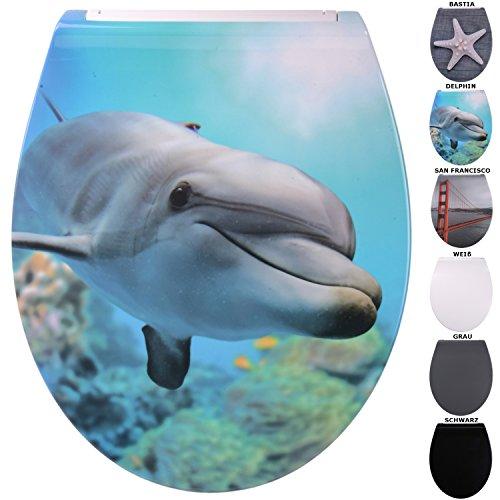 WC Sitz mit Absenkautomatik aus Duroplast, faszinierendes Design, abnehmbar, einfache Montage von oben (Flat Delphin)