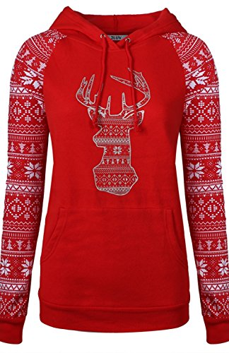 BodiLove Women's Cute Ugly Comfy Christmas Holiday Themed Sweatshirt Red 3XL