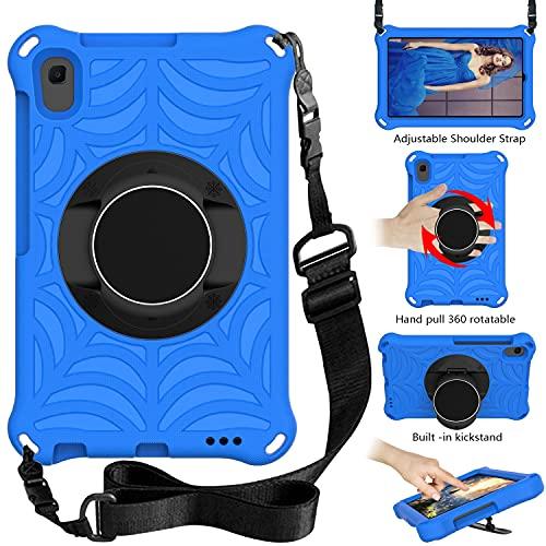 """ZHIWEI Tablet PC Tasche Für Huawei MediaPad M5 Lite 8.0""""Tablet Case Kids Shock Proof Schutzabdeckung mit rotierenden leichten und dauerhaften Ständer, Schultergurt (Color : Blue)"""